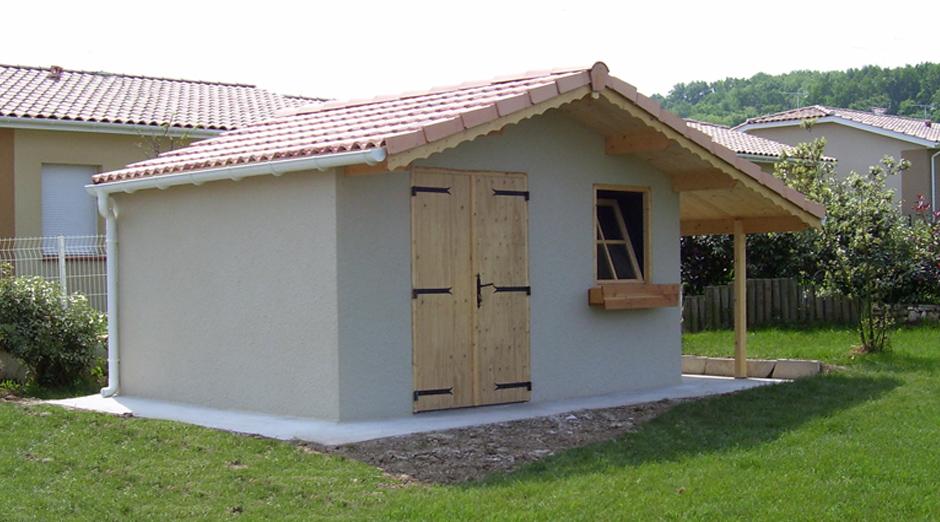 Abris de jardin en b ton et b ton aspect bois sur mesure - Construire un auvent de porte ...