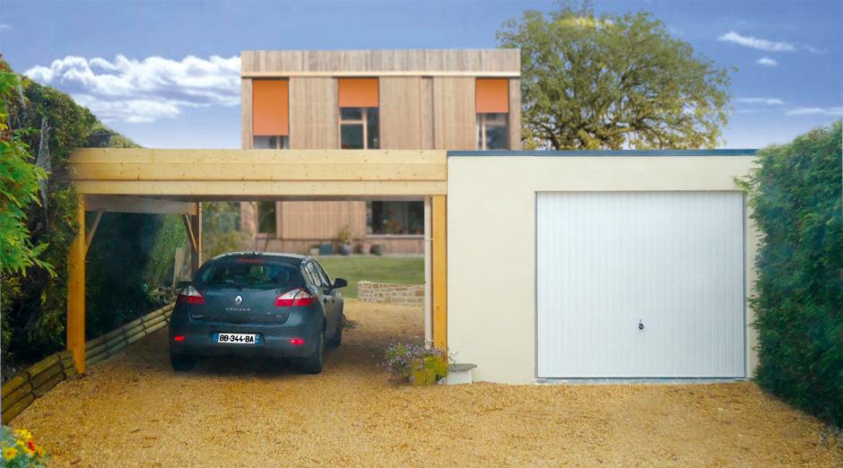 Garage En Bton Toit Terrasse Couverture Bac Acier Porte Basculante Carport  Accol With Carport Toit Plat Bac Acier