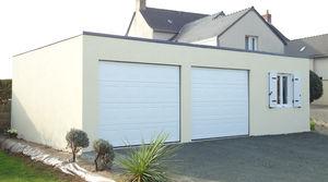 Garage En Béton Toit Terrasse Couverture Bac Acier 2 Portes Sectionnelles